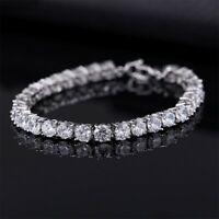 Luxury 4mm Cubic Zirconia Tennis Bracelets Iced Out Chain Crystal