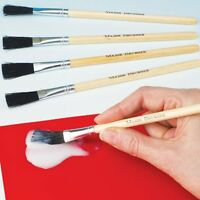 Hog Bristle Paste Brushes Craft & Glue brushes Wooden Handles- Set of 5