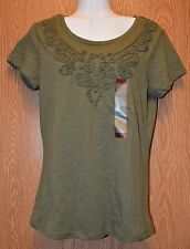 Womens Green Corded NorthCrest Short Sleeve Shirt Size Small NWT NEW
