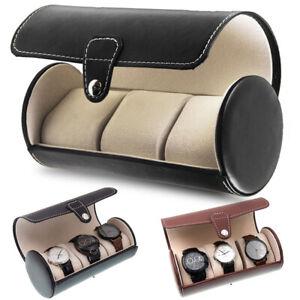Uhrenbox Uhrenkoffer Uhrenrolle PU Leder Uhrbox Uhrenschatulle Etui für 3 Uhren