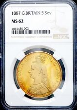 More details for 1887 queen victoria gold £5 five pounds ngc - ms62