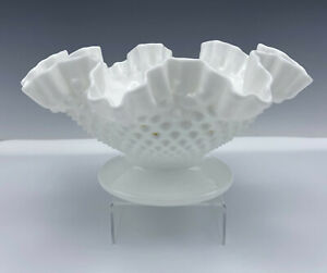 """Fenton Milk Glass Hobnail Centerpiece Crimped Footed Comport Candy Dish 10 1/2"""""""