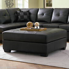 Black Bonded Leather Ottoman Coffee Table, Foot stools & Poufs #500607