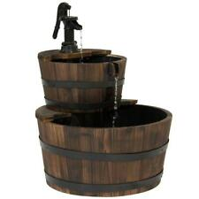 2-Tier Rustic Wood Barrel Water Fountain W/ Pump Patio Backyard Garden Brown