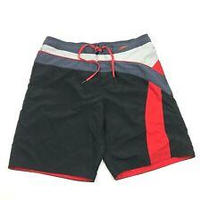SPEEDO Board Shorts Swim Trunks Size L Large Mesh Lined Swimsuit Black Gray Red