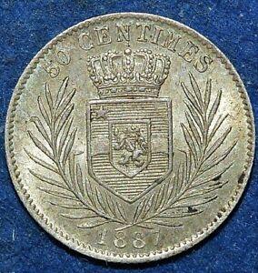 Congo Free state 50 centimes 1887 - RARE ! - Leopold II KM#5 - High Grade silver