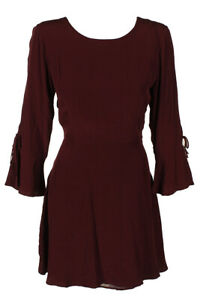 Lucky Brand Burgundy Bell-Sleeve Tie-Back A-Line Peasant Dress 8
