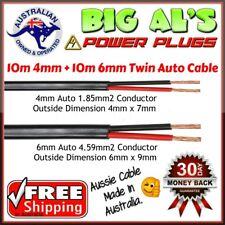10 metre x 4mm & 6mm Twin Core Sheath Auto Automotive Battery Cable Wire 12v 10m