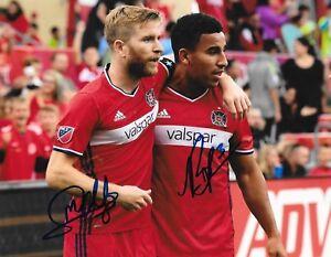 Michael de Leeuw & Brandon Vincent signed Chicago Fire MLS Soccer 8x10 photo
