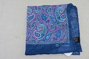 David Donahue Men's Purple Paisley Linen Pocket Square MSRP $65