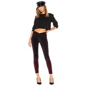 New HUDSON Womens 30 Degrade Burgundy Plum NICO Velvet Skinny Ankle Jeans nwt