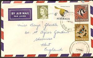 1966 Australia QEII Anemone & Humbug Fish, Honeyeater Bird FDC Air Mail to UK GB