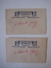 vtg Scharadins Pharmacy Frackville Pa Envelope & Fishing Hooks lure drugstore ad