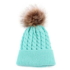 Newborn Cute Winter Kids Baby Hats Knitted Wool Hemming Hat Blue
