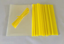 "50 x YELLOW CAKE POP KIT 6"" LOLLY STICKS 4""x 6""CELLO BAGS & POLKA TIES  EASTER"