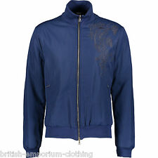 JOHN RICHMOND Blue Padded Embroidered Bomber Jacket BNWT UK40 IT50 Made In Italy