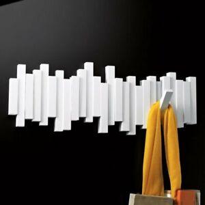 Umbra WHITE STICKS MULTI HOOK Wall COAT RACK with 5 Hooks
