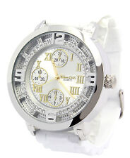 Mens White/Silver Roman # Iced out HipHop Fashion Casual Silicone Quartz watches