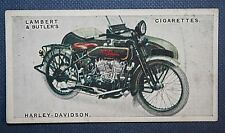 HARLEY DAVIDSON  9 HP with English Side Car  Original 1923 Vintage Colour Card
