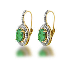 Colombian Emerald & Diamond Oval Cut Halo Dangle Earring Solid 14k Yellow Gold