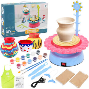 Kids Pottery Wheel Air Dry Sculpting Clay Craft Paint Toy Kit Ceramic Machine