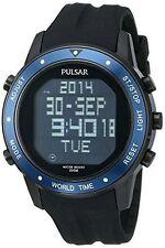 Pulsar Men's PQ2021 On The Go Digital Display Japanese Quartz Black Watch