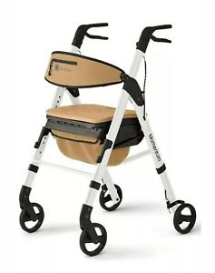 "Medline Momentum Rollator Walker, 6""Rolling Wheels, Cushioned Seat, White and..."
