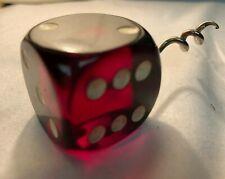 Big Vintage Clear Cherry Red Bakelite Dice Die corkscrew bottle opener barware