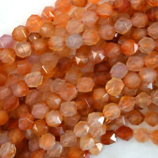 "Natural Star Cut Faceted Carnelian Round Beads Gemstone 15"" Strand 6mm 8mm 10mm"