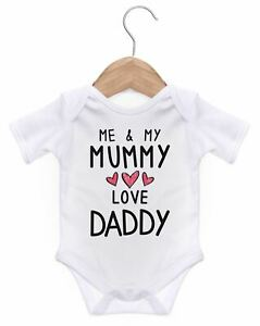 Me And My Mummy Love Daddy Short Baby Grow For Baby Boy Or Girl