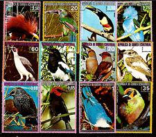 GUINEE EQUATORIALE  12 timbres oblitérés GF:  oiseaux  tous pays 1M127T6