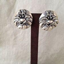 "Rare Robert Lee Morris Sterling Silver ""Sylvester"" Clip Earrings 33.3 GW"