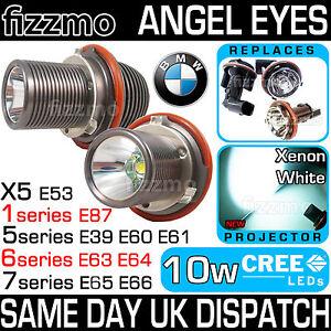 BMW XENON WHITE ANGEL EYE RING 7000K 10W using CREE LED MARKER BULBS 1 5 6 7 X5