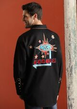 Mens Black Western Cowboy Embroidered Shirt Panhandle Star Casino Gambling Poker