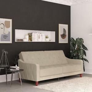 Vintage Tufted Sofa Bed Convertible Sleeper Soft Velvet Split Back Futon Couch