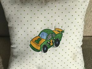 """Green and Yellow Race Car 8 """" Square Accent Pillow Number 1 of Course"""