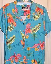 La Cabana Hawaiian Women Blouse Rayon Petite Large  Casual SS Turquoise Floral