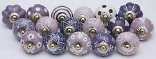Assorted Purple Ceramic Door Knobs Handpainted Kitchen Cabinet Drawer Pulls 12