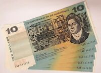 AUSTRALIA 1966 10 TEN DOLLAR BANKNOTES . CONSEC. FIVE. FIRST PREFIX SAA..SCARCE