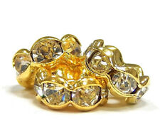 35 Metall Zwischenperlen Gold 6mm Rondell Glas Strass Spacer Perlen BEST R172E