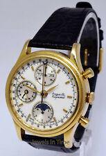 Auguste Reymond Mens 18k Yellow Gold Calendar Moon Phase Chronograph