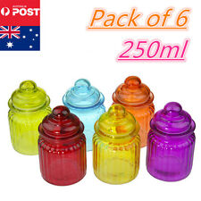 6 x Colour 250ml Preserving Storage Glass Jars Container For Food Lolly Spices