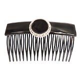 Caravan Hand Decorated Over Lapping Comb XL Jet Pearl Swarovski Crystal Stones