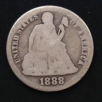 USA 1888 S Seated Liberty Dime 10 Cent San Francisco Selten Silber 3578