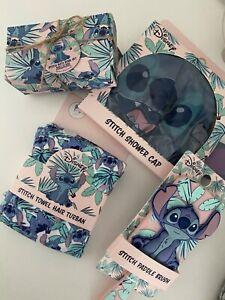 Disney @ Primark Stitch range paddle brush shower cap hair turban bath bomb set