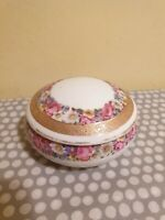Vintage Ceramic Trinket Box With Gold & Floral Decoration