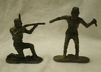 vintage Lone Star England Metal Indian Figures set of 2 Black Hawk Lone Wolf