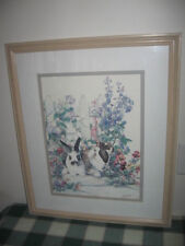 "Signed Jodi Jensen Rabbits in Cottage Flower Garden Matted Framed Print 24""x20"""