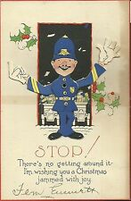 Collectible Christmas Card Policeman With Movable Arms Articulated Vintage