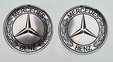 2pcs x MERCEDES BENZ Vintage logo (Dia 50mm). Domed 3D Stickers/Decals.
